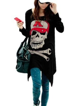 Allegra K Ladies Round Neck Long Sleeve Skull Pattern Design Tunic Tops アレグラKレディースラウンドネックロングスリーブスカル柄デザインチュニックトップス