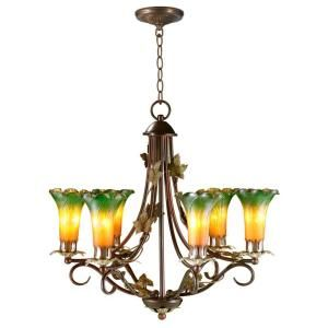Tiffany 6-Light Lily Hanging Antique Bronze Chandelier-STH11067 at The Home Depot