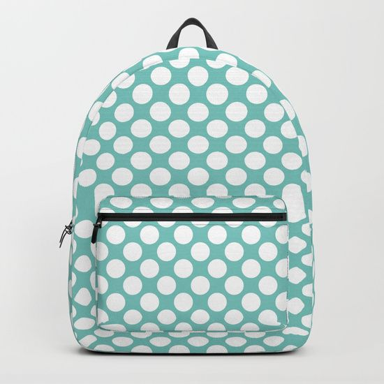"Our Backpacks are crafted with spun poly fabric for durability and high print quality. Thoughtful details include double zipper enclosures, padded nylon back and bottom, interior laptop pocket (fits up to 15""), adjustable shoulder straps and front pocket for accessories. Dry clean or spot clean only. One unisex size: 17.75""(H) x 12.25""(W) x 5.75""(D). Back to school backpack #society6 #backpack #loveschool #backtoschool #school #polkadot #pinup #dots #turqoise #cute #pretty"