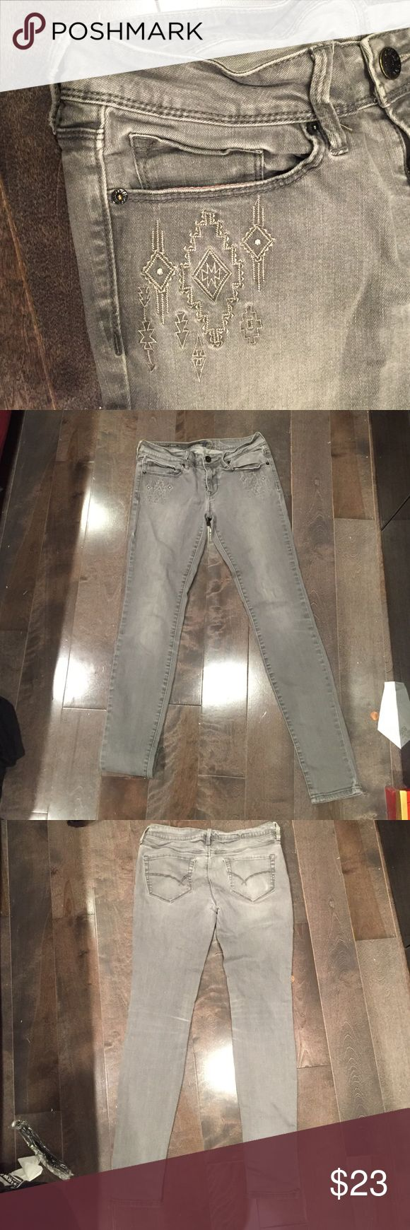 Grey tribal print skinny jeans Light wash grey skinny jeans with tribal design on front pockets, comfy and flattering, good condition, fits more like a size 3 PacSun Jeans Skinny