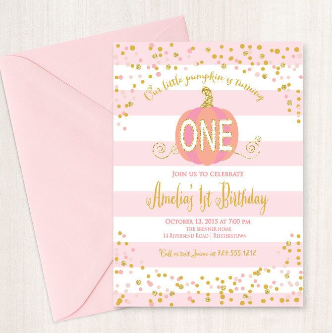 Little Pumpkin Invitation, First Birthday Invitation, Printable, DIY, Pink Pumpkin Invitation, Gold and Pink by Oohlalovely on Etsy https://www.etsy.com/listing/249111104/little-pumpkin-invitation-first-birthday