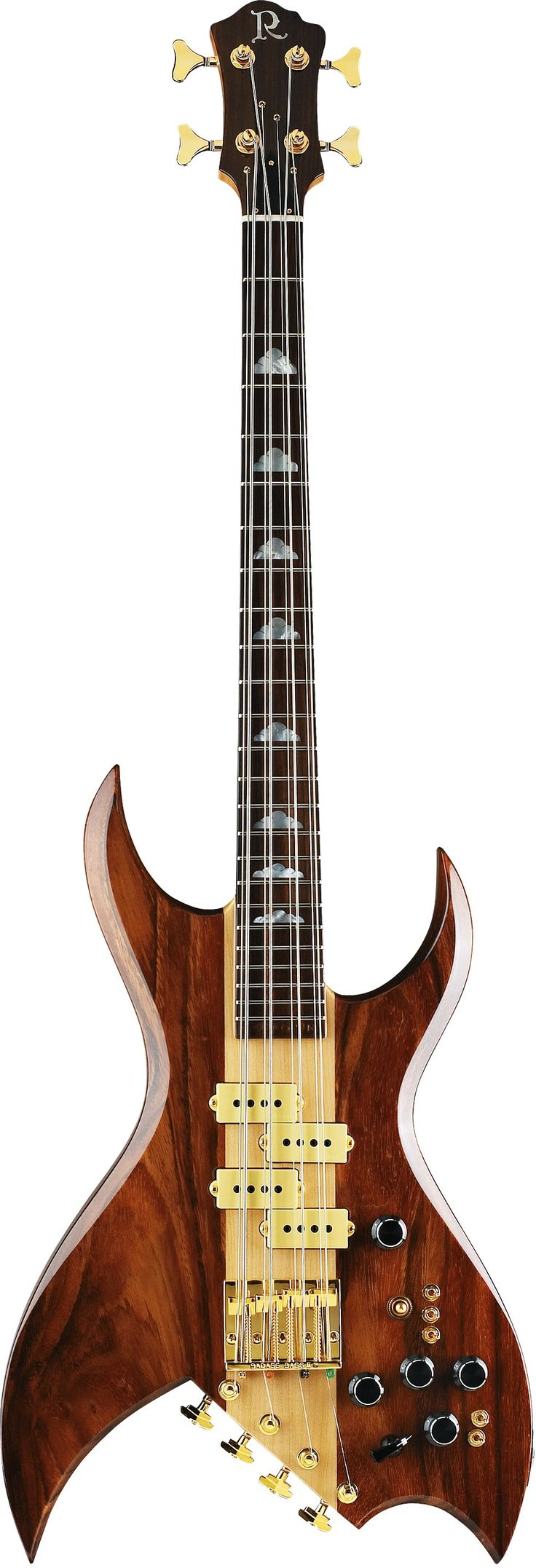 B.C. Rich 8-string bass - enlarge to see how 4 small tuners work. RESEARCH #DdO:) - https://www.pinterest.com/DianaDeeOsborne/basses-of-life/ - BASSes OF LIFE. Rare 1981 1981 Natural model, with two woods. $3,995 asking price at Reverb, 2014. Made in United States.  Manufacturer of guitars & bass guitars founded by Bernardo Chavez Rico in 1969. Currently, most B.C. Rich guitars are manufactured in Asia, but luthiers of the company's custom shop continue to hand-make instruments here in USA.