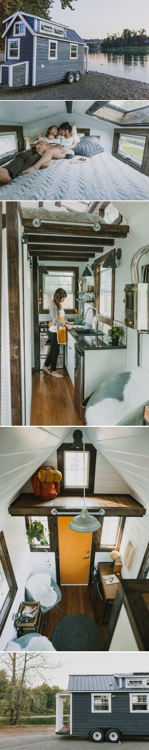 A custom tiny house on wheels in Oregon City, Oregon. Shared and built by Heirloom Custom Tiny Homes.