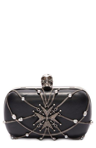 Alexander McQueen 'Classic Skull' Chain & Leather Frame Clutch available at #Nordstrom