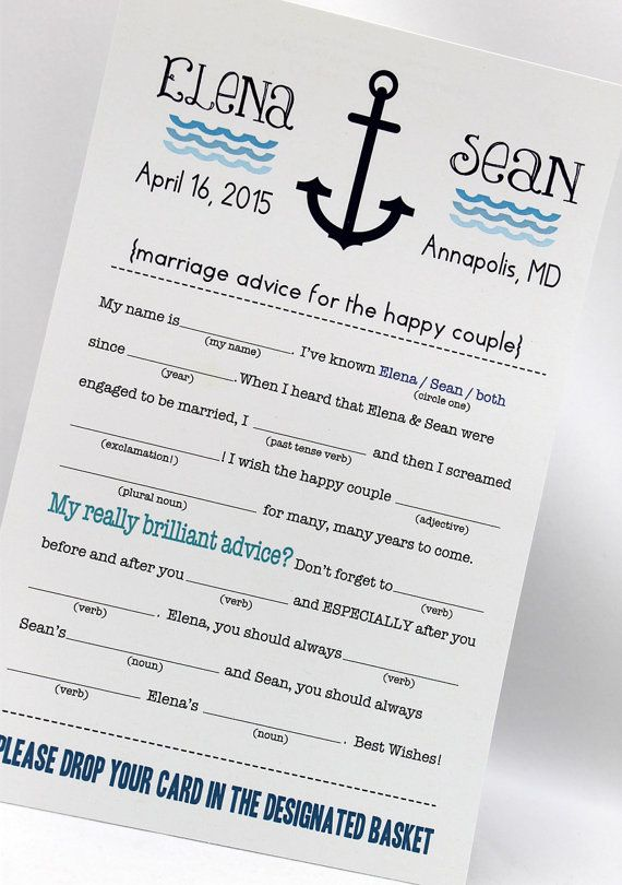 Anchor Wedding Mad Libs PDF FILE Print Yourself by camispaperie --you could also drop in a corked bottle and float it!
