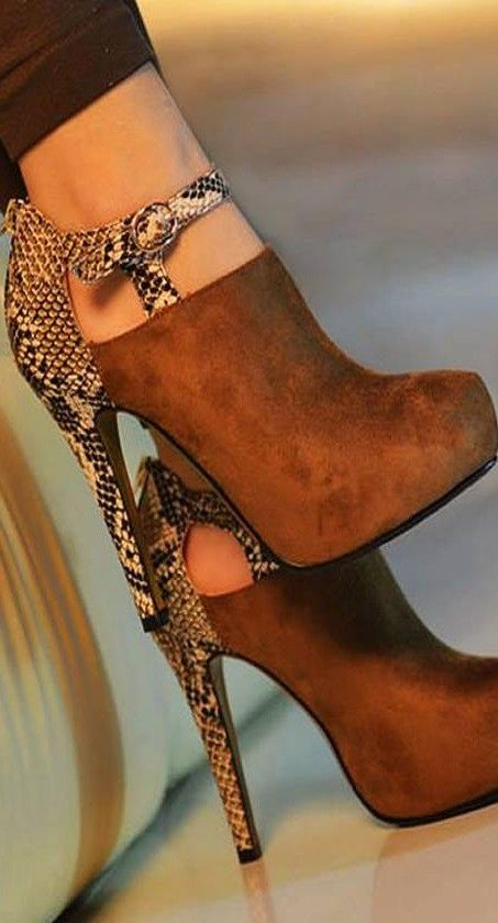 Brown suede & reptile? boots. Gorgeous.