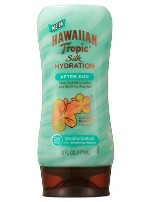 Hawaiian Tropic Silk Hydration After Sun moisturizes with mango and shea butters and soothes with aloe
