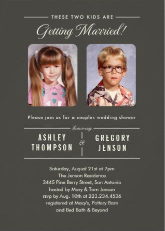 Adorable kid photos couples shower invitations. Insert your own photo, easy to customize! #couples_shower_invitations