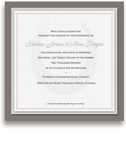 230 Square Wedding Invitations - Lucky Shoe Silver Duster by WeddingPaperMasters.com. $586.50. Now you can have it all! We have created, at incredible prices & outstanding quality, more than 300 gorgeous collections consisting of over 6000 beautiful pieces that are perfectly coordinated together to capture your vision without compromise. No more mixing and matching or having to compromise your look. We can provide you with one piece or an entire collection in a one stop shoppin...