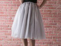 Spódnica tiulowa midi - srebrna, opalizująca