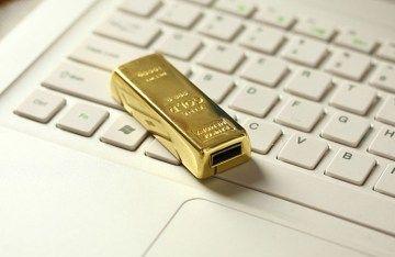 Waterproof Gold bar USB 2.0 flash pen drive memory stick 32MB
