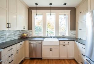 Transitional Kitchen with Antonio 1 Light Mini Pendant by Ren-Wil, Flat panel cabinets, Crown molding, Galley, Farmhouse Sink