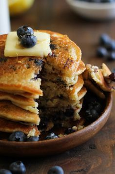 Gluten Free Lemon Blueberry Protein Pancakes made with almond flour + a secret ingredient (OK, we'll just tell you -- it's hummus!) Sub xylitol for the maple syrup. 3 pancakes per serving.