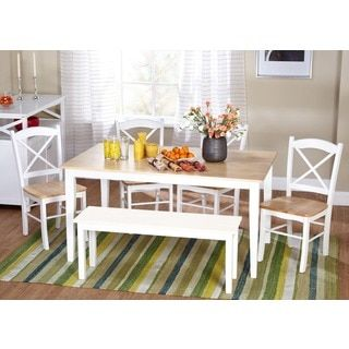 Simple Living Crossback White/ Natural 7-piece Dining Set | Overstock.com Shopping - The Best Deals on Dining Sets