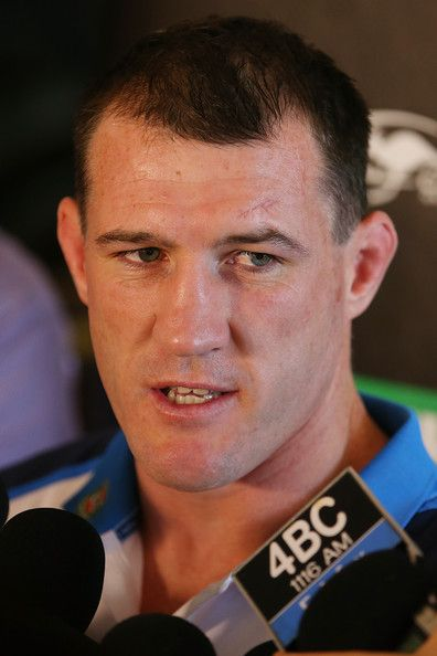 Paul Gallen Photos Photos - Paul Gallen speaks to media during the New South Wales Blues State of Origin media session at Sofitel Hotel on May 26, 2014 in Brisbane, Australia. - New South Wales Blues Media Session