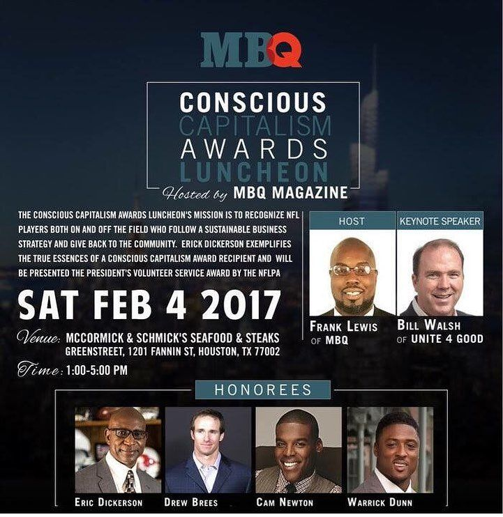 Tomorrow : Super excited to cover the Conscious Capitalism Honors NFL Players. Super Bowl Weekend in Houston. Good Deeds Radio & TV Show will be in the house. CAM NEWTON TONY DUNGY WARRICK DUNN and many more. #gooddeedslive #Superbowl #HOUSTON #camnewton #warrickdunn #plaformformbuilder #NFL #faith #love #joy