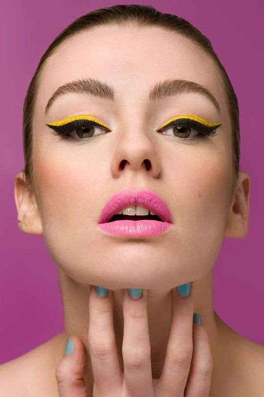 For this shoot by Kelly Defina, makeup artist Leonie Karagiannis used a vibrant yellow liquid liner. You can also experiment with other bold colours – like violet, emerald green, turquoise or tangerine. The key is to line the colour next to Black Eyeliner Tips to define the eye and keep it classic with a twist.