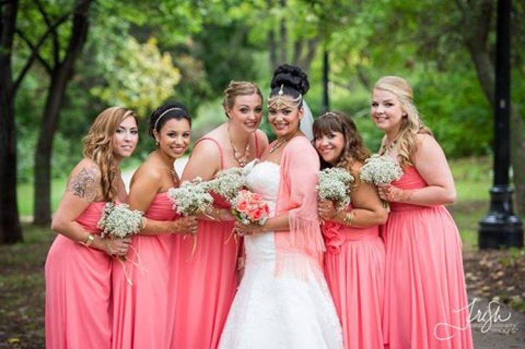 #dezziandshimonswedding #bridesmaids all different style chiffon dresses in romantic summer coral color .
