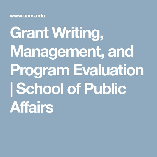 Grant Writing Management And Program Evaluation  School Of