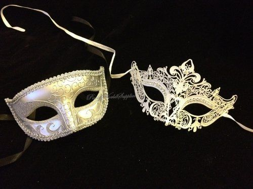 Masquerade ball ideas: Amazon.com: Masquerade mask for men and women Silver White Laser cut metal masquerade mask set: Clothing