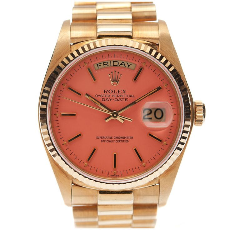 Vintage Rolex: One Day, In My Dreams, Coral, Rolex Watches, Pink Vintage, Color, Vintage Pink, The Faces, Gold Watches