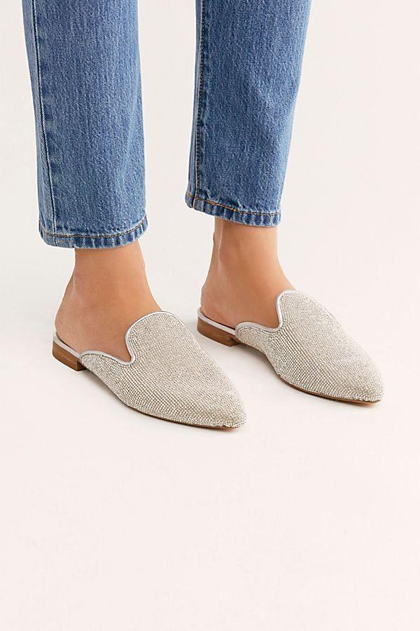 7ac663314d56cb Bianca Rhinestone Flat - Delicate Rhinestone Mules - Sparkly Mules -  Sparkly Slip On Flats - Rhinestone Shoes