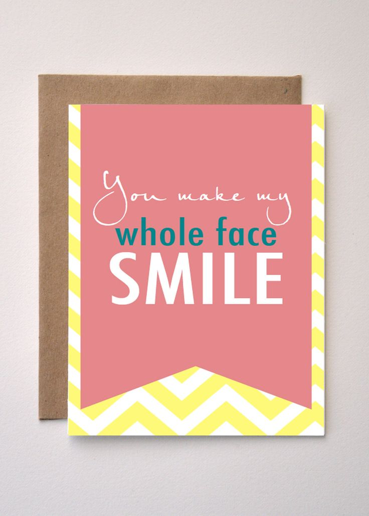 WHOLE FACE SMILE -   Pink & Yellow Chevron Greeting card - Valentines Day by MediaFreedom on Etsy