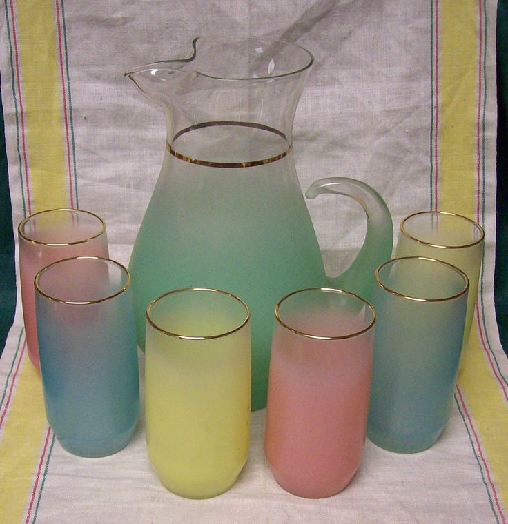 Vintage Mid Century West Virginia Blendo Frosted Glass Gold Trim Jadeite Mint Green Pitcher and Blue Pink Yellow Tumbler Set. $50.00, via Etsy.
