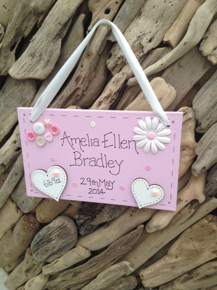 New Baby Girl Personalised Plaque Christening Keepsake Gift with Name Weight