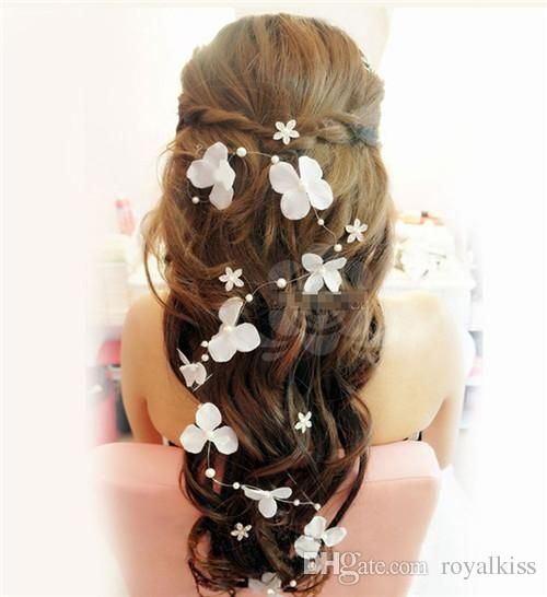 di cerimonia nuziale della perla del diadema di nozze fascia dei capelli accessori da sposa tessuti a mano flaxen capelli