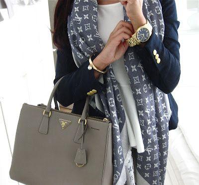 navy scarves + neutral bag