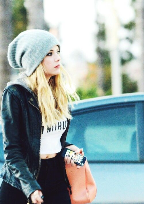 "Ashley Benson, she's so pretty & I love the beanie, jacket, & ""you can't sit with us"" shirt❤"