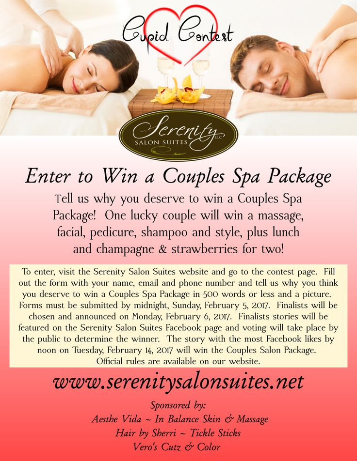 Enter to win a Valentine's Couples Spa Package! Visit http://serenitysalonsuites.net/contest for details.