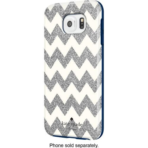 kate spade new york - Hybrid Hard Shell Case for Samsung Galaxy S 6 Cell Phones - Chevron Silver Glitter/Cream/Navy - Front Zoom