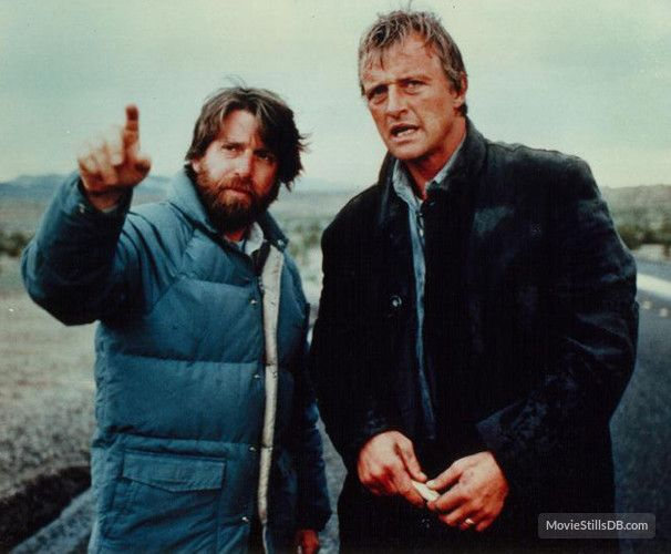 The Hitcher behind the scenes photo of Rutger Hauer & Robert Harmon
