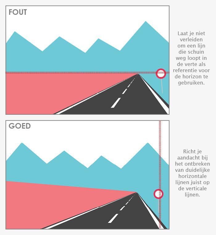 Voorkom een scheve horizon door te focussen op zowel horizontale als verticale lijnen