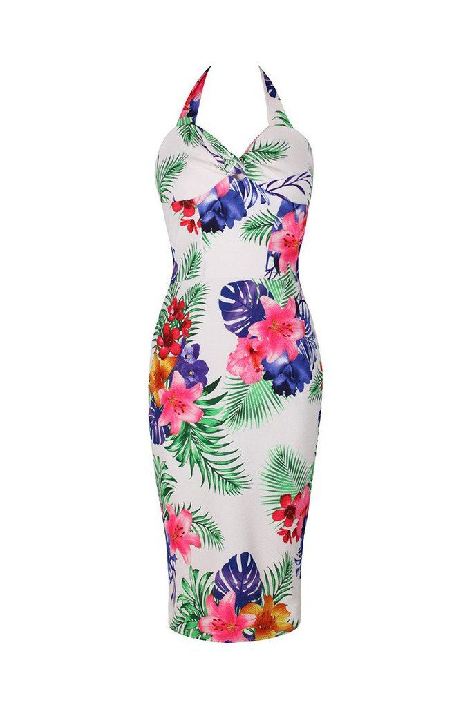 White and Tropical Floral Print Halter Neck Bodycon Pencil Dress