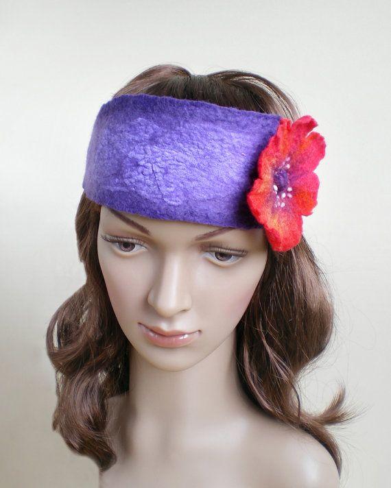 Red Poppy Flower Headband Womens Floral Felt Purple by IssaFelt
