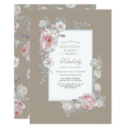 Watercolor Elegant Vintage Floral Birthday Party Card