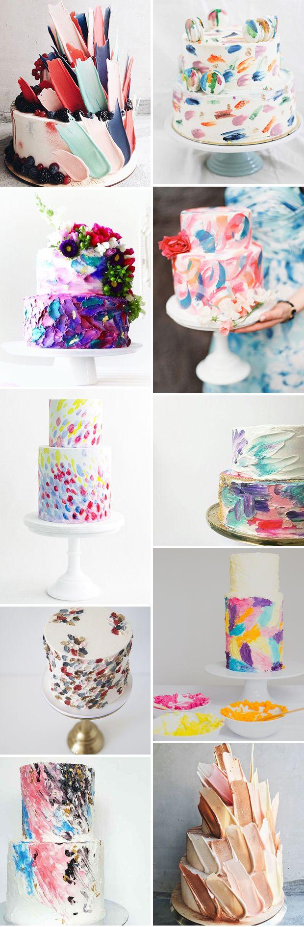 The Next Big Wedding Cake Trend: Brushstroke Cakes // www.onefabday.com