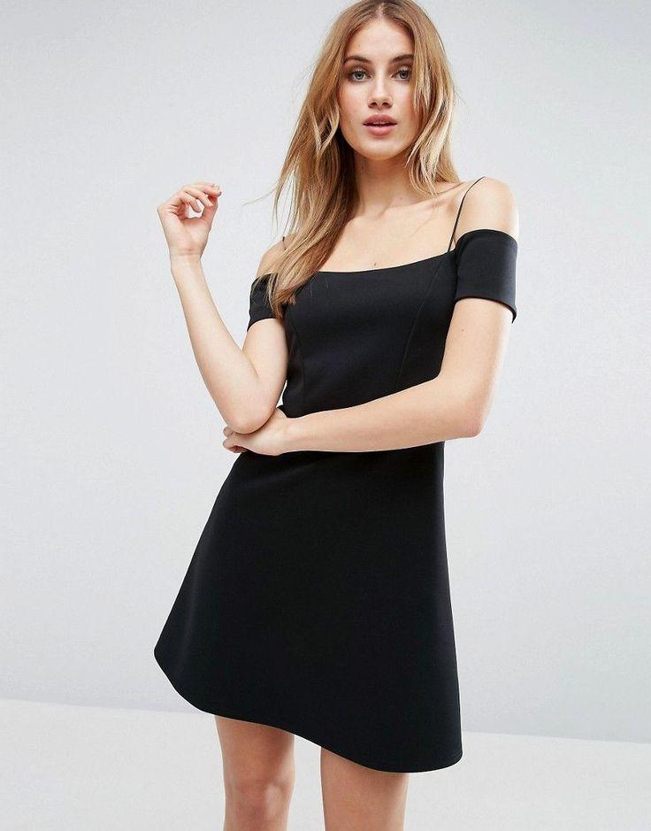 ASOS Off the Shoulder Bardot Shift Scuba Mini Dress - Black