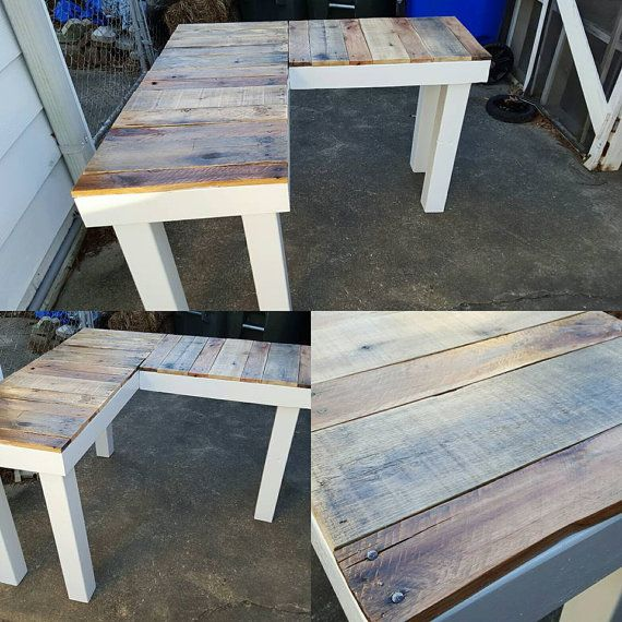 rustic reclaimed wood lshaped desk your choice in color frame we offer white black or whitewashed or even a stained base for the top this model has a