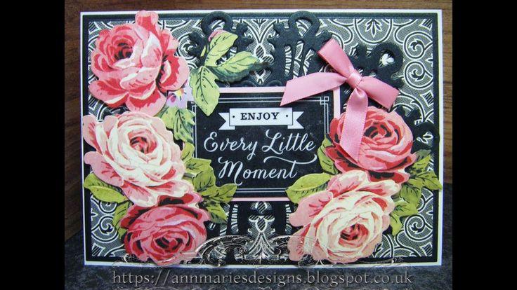 383.Cardmaking Project: Anna Griffin Pink & Black Floral Vintage Card