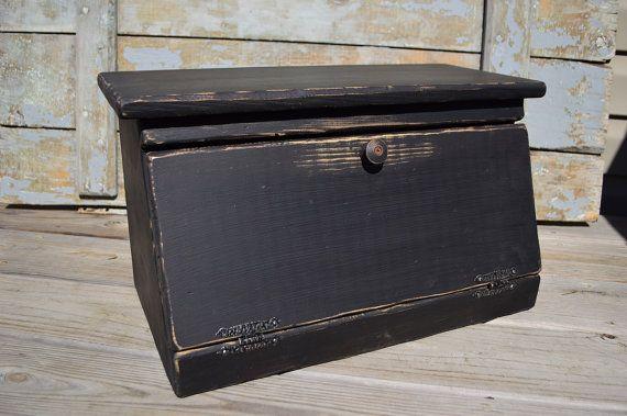Primitive Bread Box/Charging Station Black by BishopsHollow