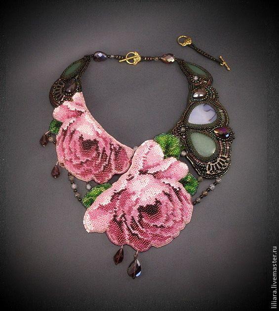 La rose sauvage - Дикая роза , колье - розовый,розы,колье с камнями,колье с розами