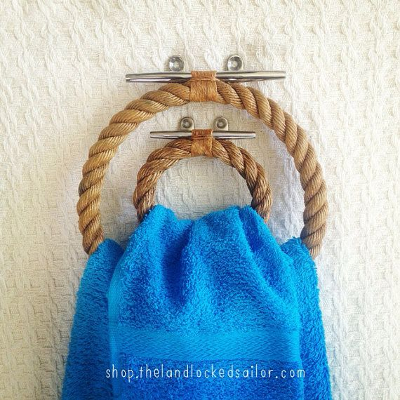 Set of Two Nautical Varnished Rope Towel Holders on Stainless Steel Dock Cleats: Small and Large