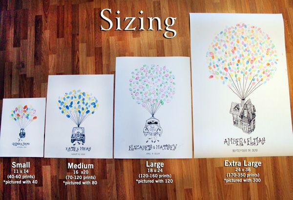 hot air balloon thumbprint guest book print receptions wedding and guest books