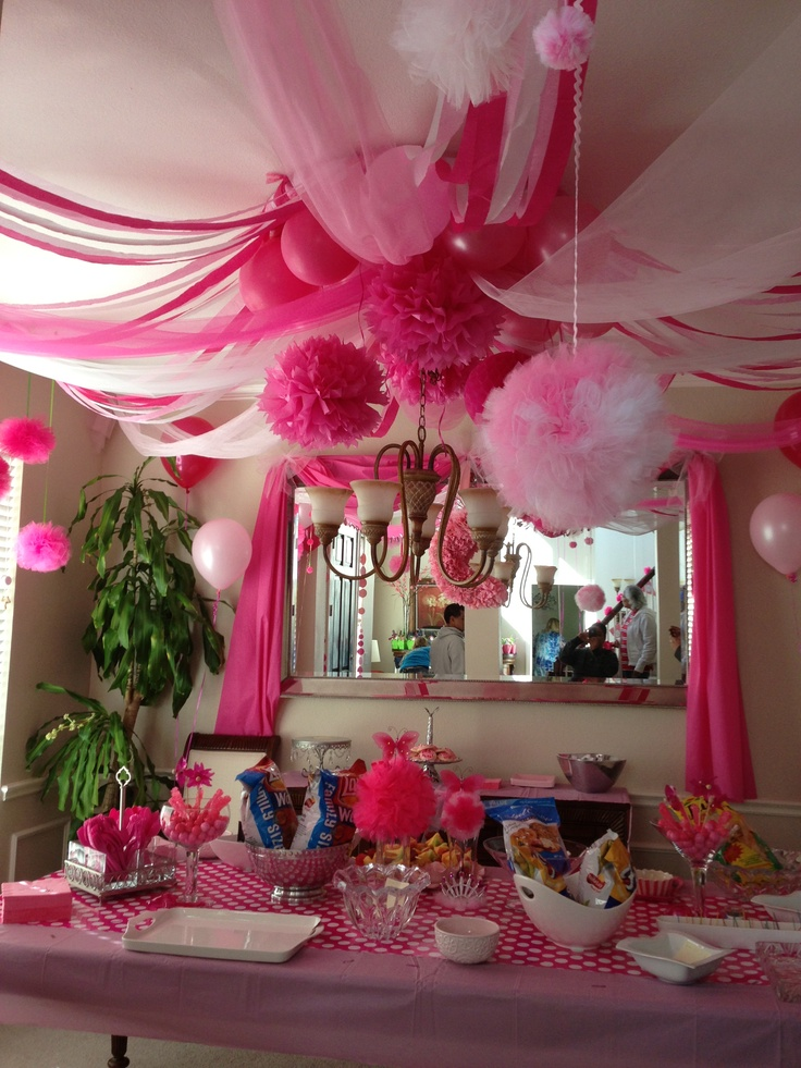 """Pink Party"" Decor; I used a hula hoop as the central"