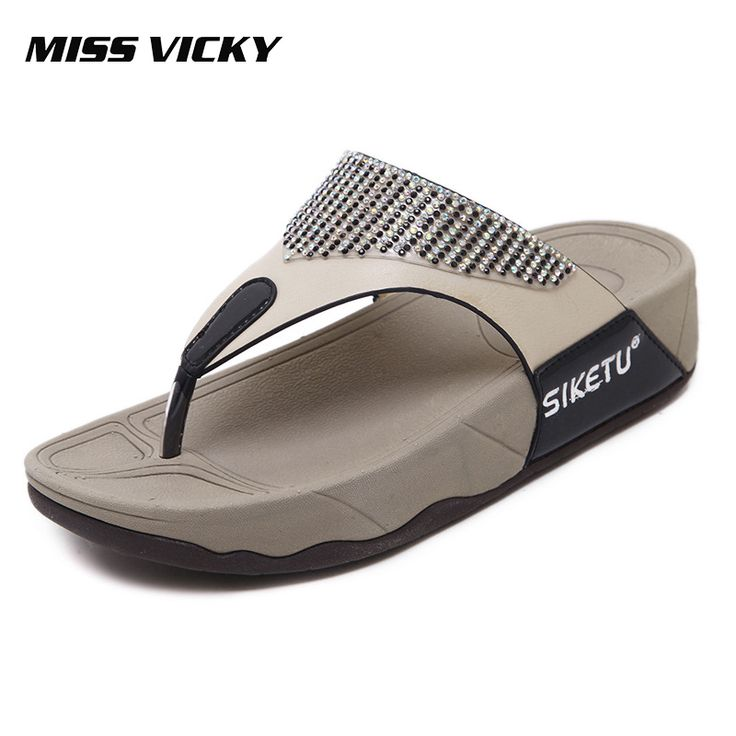 MISS VICKY 2019 New Summer Casual Women's Flip-Flops Thick-soled Outdoor Slippers Beach Shoes