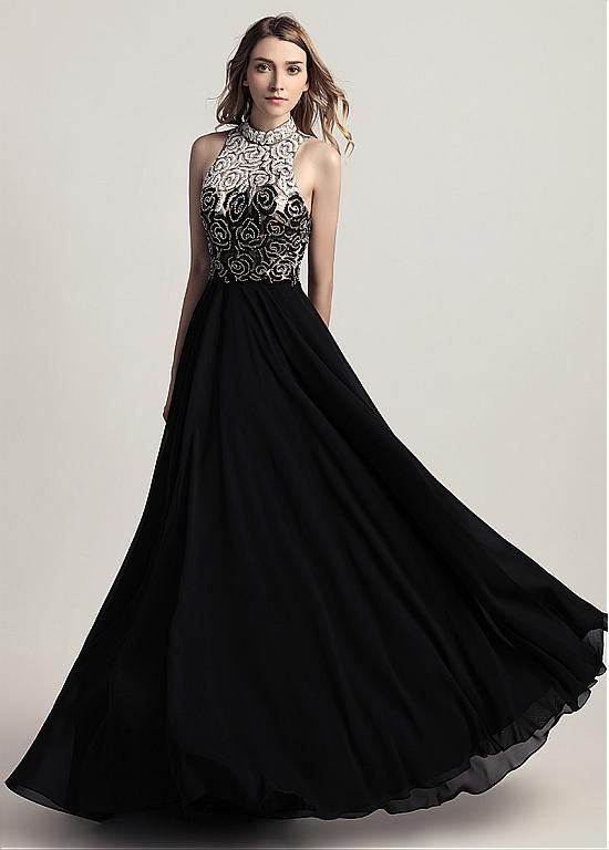 2f8499373c7b0 Black Long Evening Dresses Sexy Open Back Beading A Line Chiffon ...